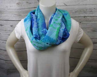 Blue and Green Tie Dye Infinity Scarf
