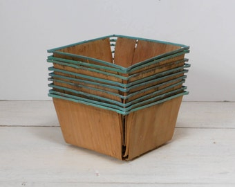 Vintage Wood Berry Baskets - Set of 9 - Fruit Boxes