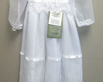 Emily Organza Christening Gown, Lace Baptism Gown, Blessing Gown for Baby Girl's