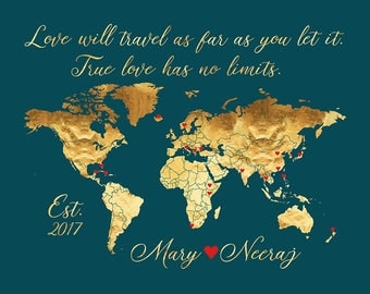 Custom Map for Couples who Travel - Love Travel Quote - Personalized World Map with Locations Traveled, Hearts, Gold, Black | WF467