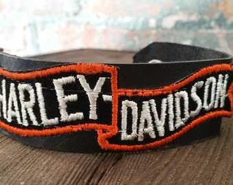 Vintage Harley-Davidson Patch Leather Bracelet Cuff
