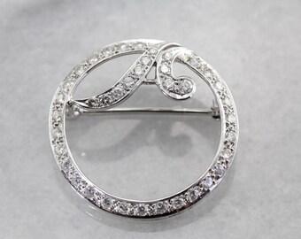 Vintage 1950's Diamond Circle Pin 397YDX-R