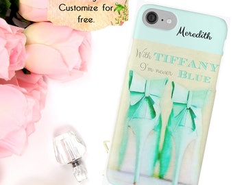Fashion Phone Case, Tiffany iPhone Case, Champagne Aqua Shoe Phone Cover, Custom Case, Bridesmaid Gift, iPhone 6 7 Plus, Samsung Galaxy Case
