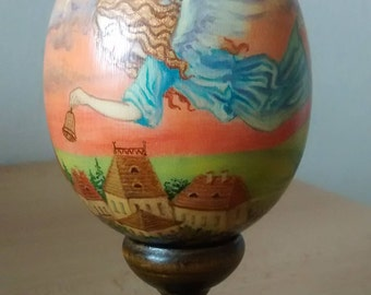 Gift wooden egg with angels, Easter motif, Easter