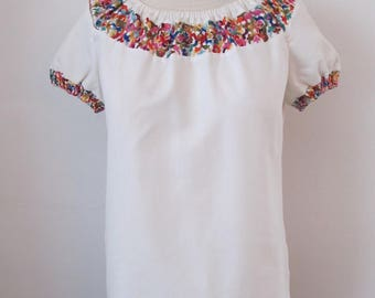 Vintage 70's 80's Boho Peasant Blouse Embroidery By Langtry