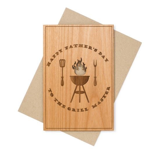 Wooden Father's Day Card for Dad Grill Master. Fathers Day Grilling Gift Idea for Dad, for Husband.