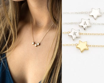 Tiny Personalized Initial Star Necklace / Cute Gold/Silver Star on 14k Gold Fill, Sterling Silver Chain / Celestial Layering Necklace LN310