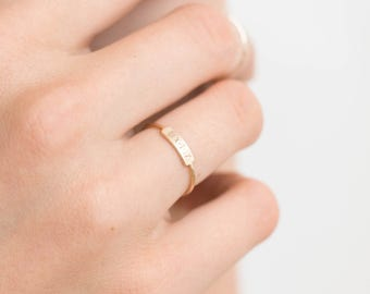 Dainty Bar Ring • Personalized Ring (or blank) • Stacking Ring • Custom Name • Hand Stamped • 14k Gold Fill, Sterling Silver, LR450