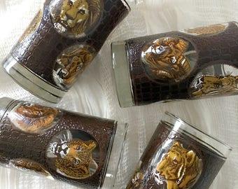 Vintage Zoo Animal Print Glassware - Set of 4 / Jungle Animal Drinking Glasses / Barware