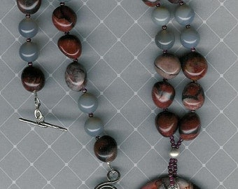 Crazy For You -OOAK Crazy Lace Rosetta Agate, Red Picture Jasper, Grey Agate, Garnet, SS Necklace