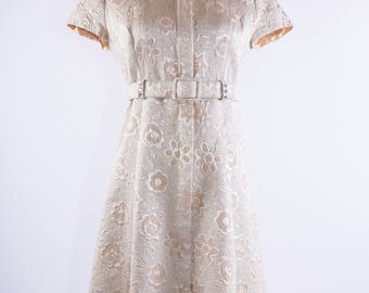 50's Champagne & Cream Embossed Floral Print Dress
