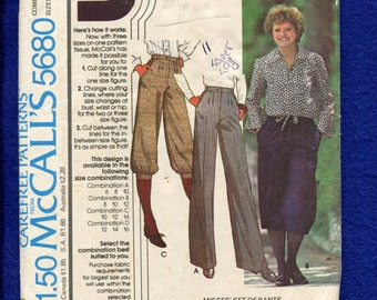 1970's McCall's 5680 Knickers Gauchos & Pants with Pleats Size 6..8..10