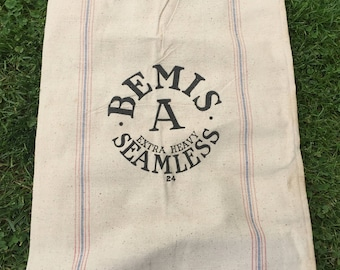 Grain Sack, Bemis A Extra Heavy Seamless, Large Heavy Vintage Cotton Canvas Rustic, Upcyle Repurpose Cutter Upholstery Fabric