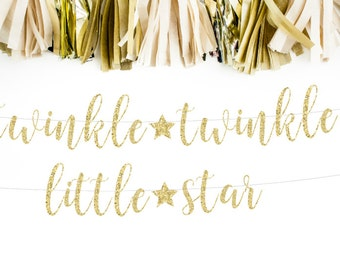 Twinkle Twinkle Little Star First Birthday Banner, Baby First Birthday, Baby Girl Party, Baby Boy Party, Cursive Banner, Glitter Banner
