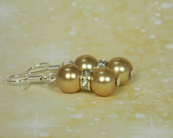Bridesmaid Gold Pearl Earrings with Rhinestones, Bridesmaid Gold Jewelry, Gold Jewelry, Bridal Earrings, Medium Gold Wedding Earrings - E01