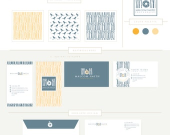 FULL BRANDING PACKAGE includes businesscards letterhead stationary  camera and bird forest- photographer branding template fully customized