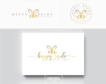 Simple Butterfly -Premade Photography Logo and Watermark, Classic Elegant Script Font GOLD GLITTER butterfly children Calligraphy Logo