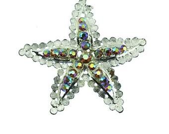 Large Silver Starfish Brooch, Rhinestone Starfish Brooch, Aurora Borealis Rhinestone Starfish Pin
