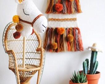 Handmade 'Llama Riding Stick Toy', Pretend Play Toy, Boho Kids Toy, Llama - MADE TO ORDER