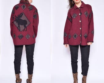 Vinatge 90's Moose Wool Sweater / Burgundy Wool Button Sweater / Moose Winter Sweater - Size Medium/M