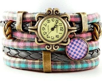 bracelet and a watch, cuff, stylish watch, checkered pattern