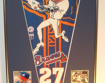Atlanta Braves Fred McGriff Player Pennant & Cards..Custom Framed!!