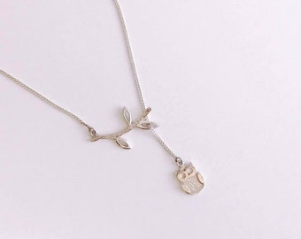 Branch Owl Lariat Sterling Silver Necklace
