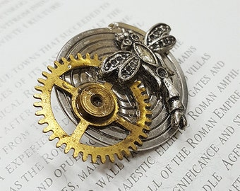 Steampunk Dragonfly Brooch- -Watch Part Brooches- Vintage Dragonflys Jewelry Gift for Steampunk Loving Friend