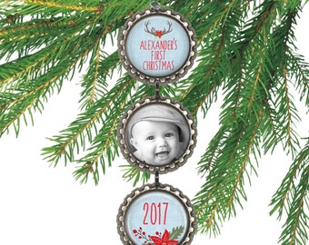 Personalized baby's first Christmas ornament, baby boy antler photo ornament, gift for new parents, grandparent gift. BLUE BABY
