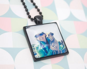 Custom Photo Necklace - Square Photo Pendant - Personalized Gift - Custom Necklace - Picture Necklace - Photo Jewelry - 25 mm / 1 in Square