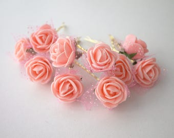 Salmon Rose Hair Clips, wedding hair accessories, bridal hair clips, flower hair clips, rose bobby pins, flowergirl Set of 10