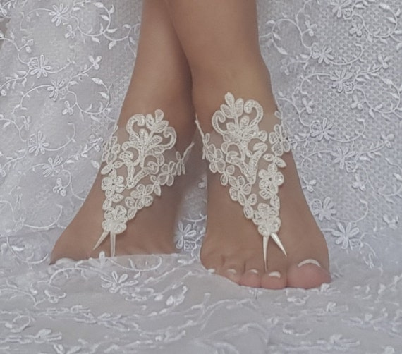 ivory Beach wedding barefoot sandals bridesmaid gift bridal beach shoes beach wedding