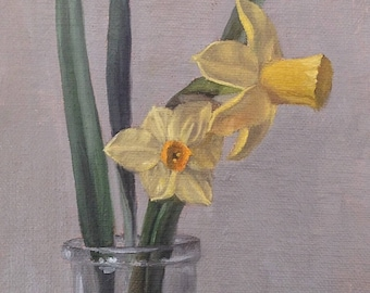 Original oil painting: Daffodils 4x6""
