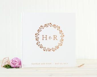 Wedding Guest Book with Rose Gold Foil guestbook 12x12 wedding photo album monogram wreath personalized instant photo wedding gift hardcover