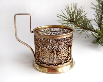 Filigree podstakannik the Flower garden Mother's day gift russian soviet tea glass holder Gold plated metal cup coffee holder kitchen decor
