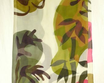 Hand Painted Silk Chiffon Scarf with Tropical Feel! - Extra Large