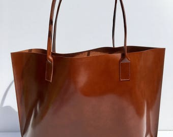 Large Premium Dark Cognac Leather Tote