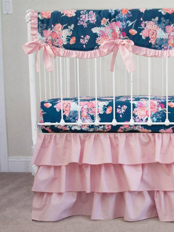 navy floral pink coral purple baby girl crib cot bedding. Black Bedroom Furniture Sets. Home Design Ideas
