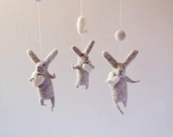Gray Bunny Mobile, Nursery Mobile, Baby Mobile, Baby Crib Mobile, light grey Bunny Mobile