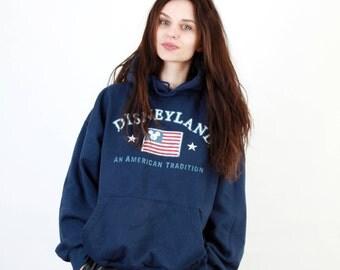 USA Flag Jumper / USA Logo Jumper / USA Disneyland Sweatshirt / Mickey Mouse Jumper / Casual Jumper / Navy Blue Size L