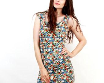 Vintage Floral Dress / Cotton Dress / Sun Dress / Bodycon Dress / Mini Dress / Sun Dress / Small