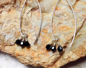 Sterling Silver and Jet Cluster Earrings