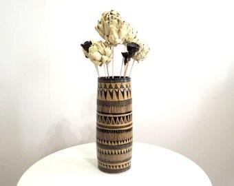 Black and tan geometric speckled stoneware vase, ceramic vase