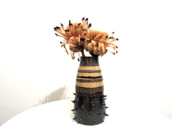 Black and tan spikey striped speckled stoneware vase, ceramic vase