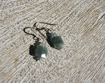 MOSS AQUAMARINE EARRINGS. Faceted squares and small faceted rondelles. S.S./ organic/ everyday/ woodland/ sparkle/ birthstone/ Boho/