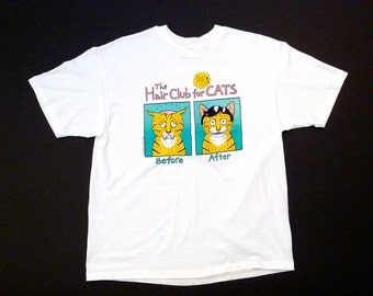 The Hair Club for Cats T Shirt Hep Cat 1995 size XL White Cotton Tee Vintage Like New Cartoon As Seen on T.V.! Mike Judge Graphics? Gag Gift