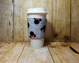 Fabric Coffee Cozy / Minnie Mouse Coffee Cozy / Disney Coffee Cozy / Coffee Cozy / Tea Cozy