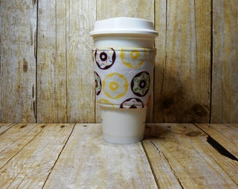 Fabric Coffee Cozy / Donut Coffee Cozy / Coffee Cozy / Tea Cozy