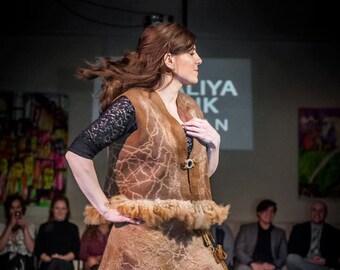 Light Brown Dark Beige Handmade Felted Wool Vest Women's Jacket Fiber Art Sweater Sleeveless Felted Wool Jacket Size M/L 10/14 OOAK Folk Fur