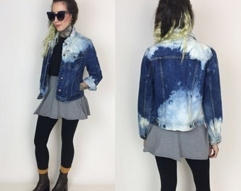 90's Bleached Denim Jacket Women Small - Tie Dye Bleach Dark Blue Jean Jacket Layer - Bleached Jean Jacket Grunge Womens Fashion Fall Jacket